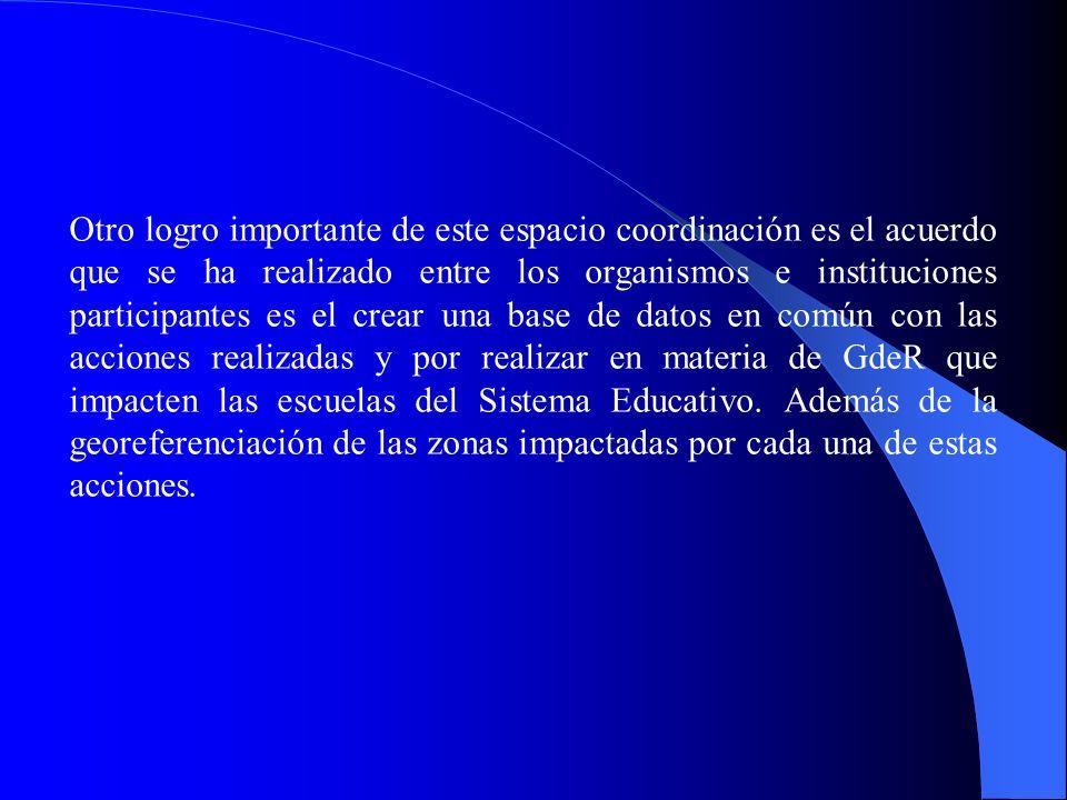 Otro logro importante de este espacio coordinación es el acuerdo que se ha realizado entre los organismos e instituciones participantes es el crear un
