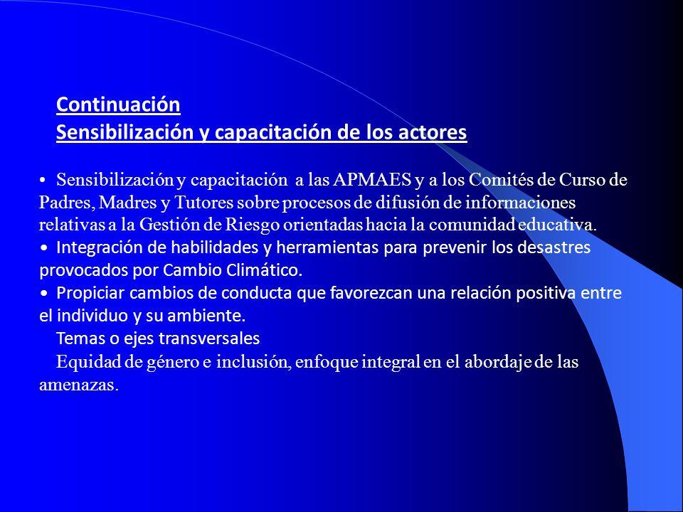 Continuación Sensibilización y capacitación de los actores Sensibilización y capacitación a las APMAES y a los Comités de Curso de Padres, Madres y Tu