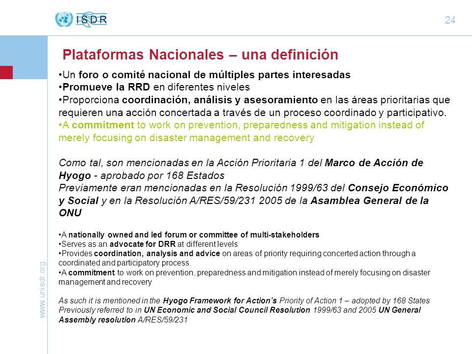 www.unisdr.org 24 Un foro o comité nacional de múltiples partes interesadas Promueve la RRD en diferentes niveles Proporciona coordinación, análisis y