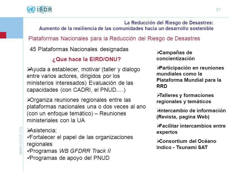 www.unisdr.org 31 Plataformas Nacionales para la Reducción del Riesgo de Desastres La Reducción del Riesgo de Desastres: Aumento de la resiliencia de