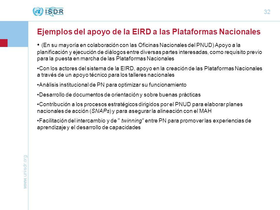 www.unisdr.org 32 Ejemplos del apoyo de la EIRD a las Plataformas Nacionales (En su mayoría en colaboración con las Oficinas Nacionales del PNUD) Apoy