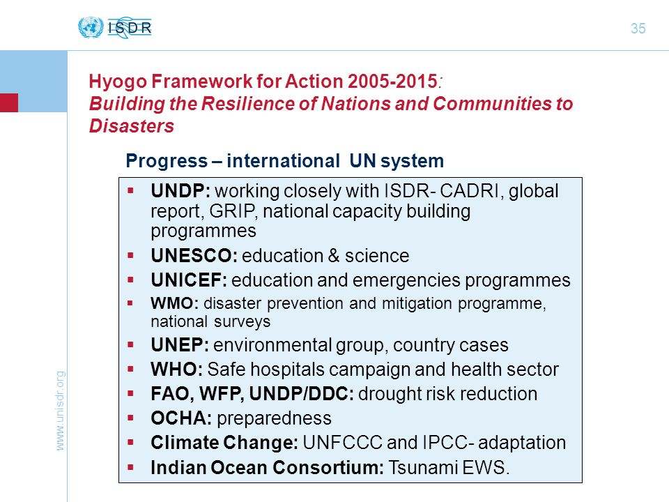 www.unisdr.org 35 Hyogo Framework for Action 2005-2015: Building the Resilience of Nations and Communities to Disasters Progress – international UN sy