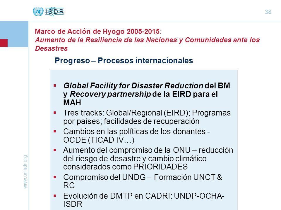 www.unisdr.org 38 Marco de Acción de Hyogo 2005-2015: Aumento de la Resiliencia de las Naciones y Comunidades ante los Desastres Progreso – Procesos i
