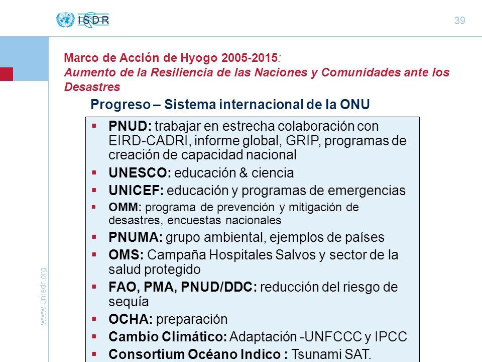 www.unisdr.org 39 Marco de Acción de Hyogo 2005-2015: Aumento de la Resiliencia de las Naciones y Comunidades ante los Desastres Progreso – Sistema in