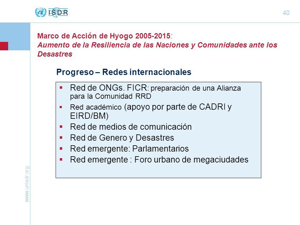 www.unisdr.org 40 Marco de Acción de Hyogo 2005-2015: Aumento de la Resiliencia de las Naciones y Comunidades ante los Desastres Progreso – Redes inte
