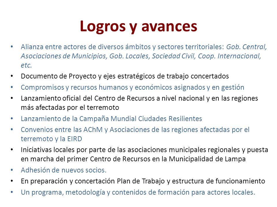 Logros y avances Alianza entre actores de diversos ámbitos y sectores territoriales: Gob.
