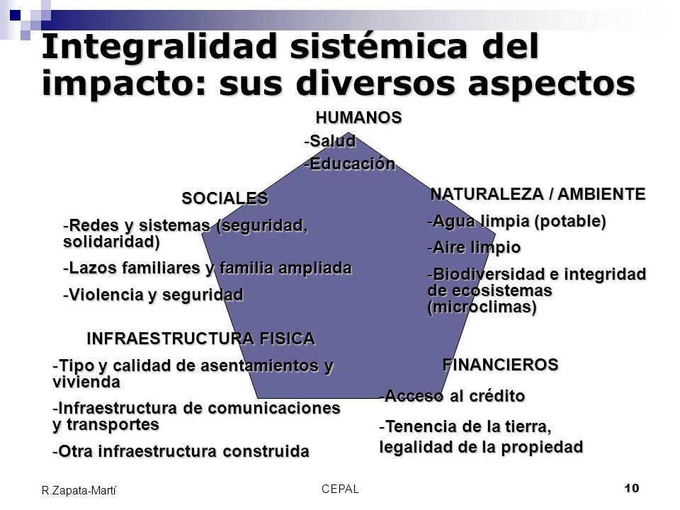 CEPAL10 R.Zapata-Martí HUMANOS -Salud -Educación NATURALEZA / AMBIENTE -Agua limpia (potable) -Aire limpio -Biodiversidad e integridad de ecosistemas
