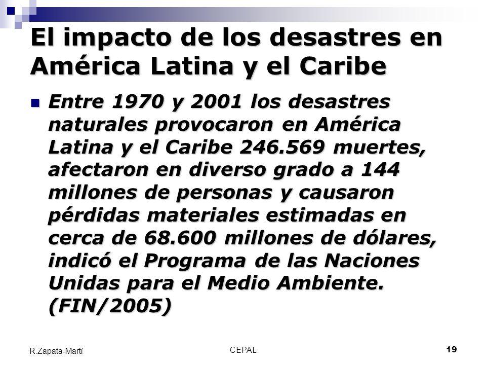CEPAL19 R.Zapata-Martí El impacto de los desastres en América Latina y el Caribe Entre 1970 y 2001 los desastres naturales provocaron en América Latin