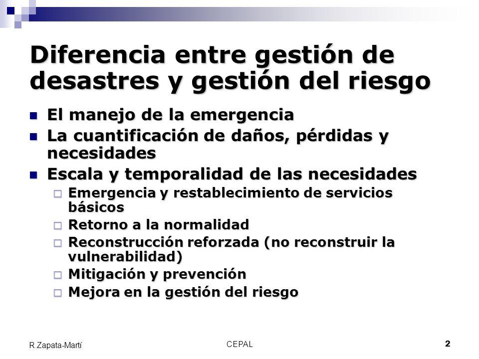CEPAL13 R.Zapata-Martí EL EFECTO DE UNA SUCESIÓN DE DESASTRES SOBRE LA FORMACIÓN BRUTA DE CAPITAL * * * * TIEMPO FORMACIÓN BRUTA DE CAPITAL PAÍSES EN DESARROLLO PAÍSES INDUSTRIALIZADOS * DESASTRE