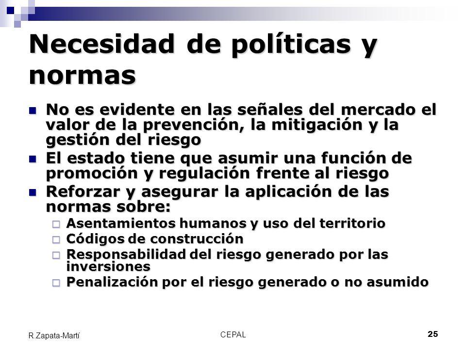 CEPAL25 R.Zapata-Martí Necesidad de políticas y normas No es evidente en las señales del mercado el valor de la prevención, la mitigación y la gestión