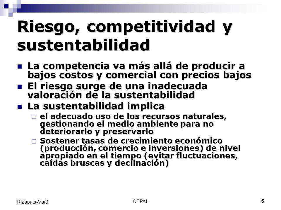 CEPAL5 R.Zapata-Martí Riesgo, competitividad y sustentabilidad La competencia va más allá de producir a bajos costos y comercial con precios bajos La