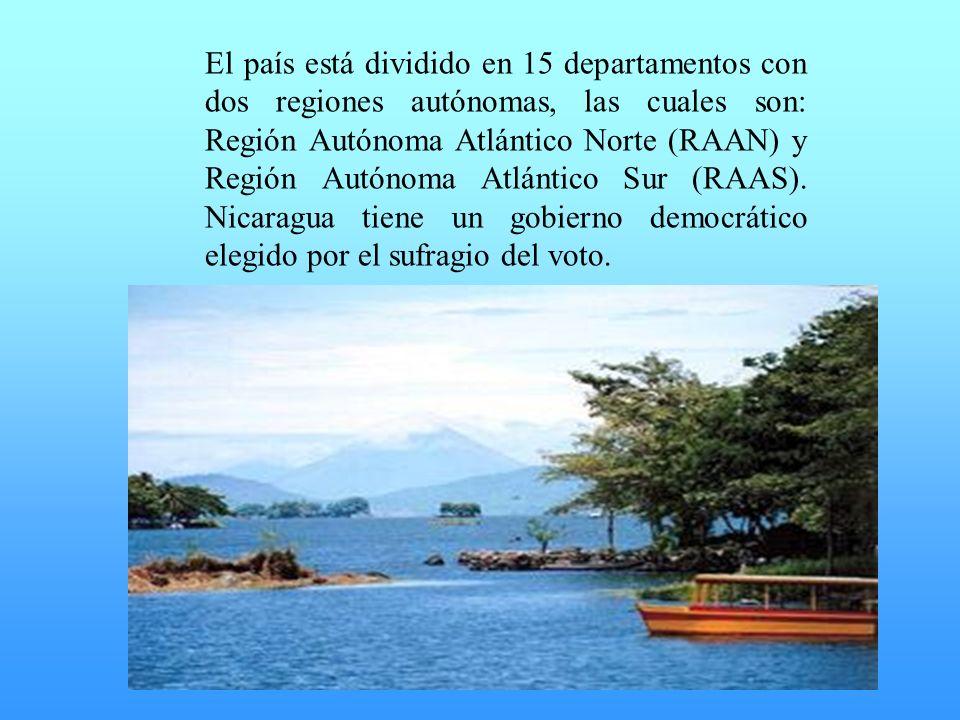 El país está dividido en 15 departamentos con dos regiones autónomas, las cuales son: Región Autónoma Atlántico Norte (RAAN) y Región Autónoma Atlánti