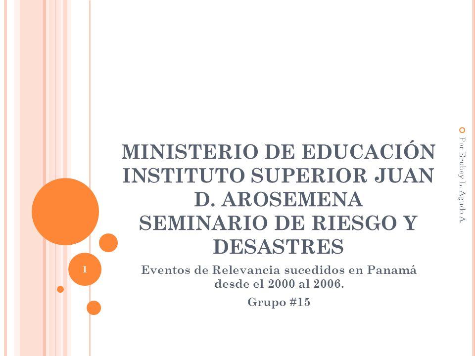 MINISTERIO DE EDUCACIÓN INSTITUTO SUPERIOR JUAN D. AROSEMENA SEMINARIO DE RIESGO Y DESASTRES Eventos de Relevancia sucedidos en Panamá desde el 2000 a