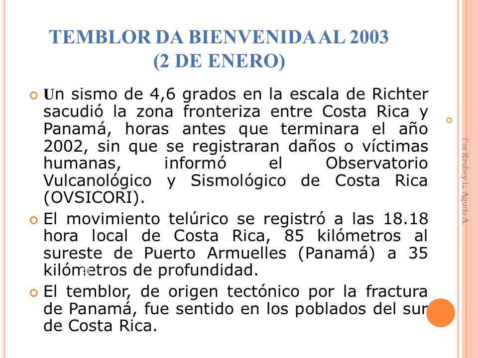 TEMBLOR DA BIENVENIDA AL 2003 (2 DE ENERO) U n sismo de 4,6 grados en la escala de Richter sacudió la zona fronteriza entre Costa Rica y Panamá, horas