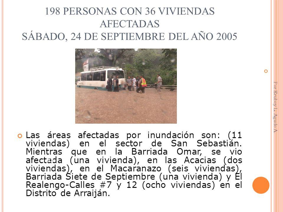 198 PERSONAS CON 36 VIVIENDAS AFECTADAS SÁBADO, 24 DE SEPTIEMBRE DEL AÑO 2005 Las áreas afectadas por inundación son: (11 viviendas) en el sector de S