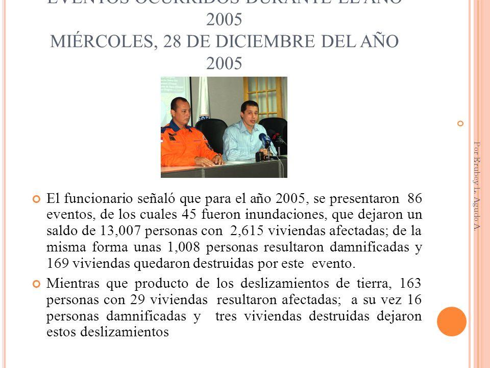 EVENTOS OCURRIDOS DURANTE EL AÑO 2005 MIÉRCOLES, 28 DE DICIEMBRE DEL AÑO 2005 El funcionario señaló que para el año 2005, se presentaron 86 eventos, d