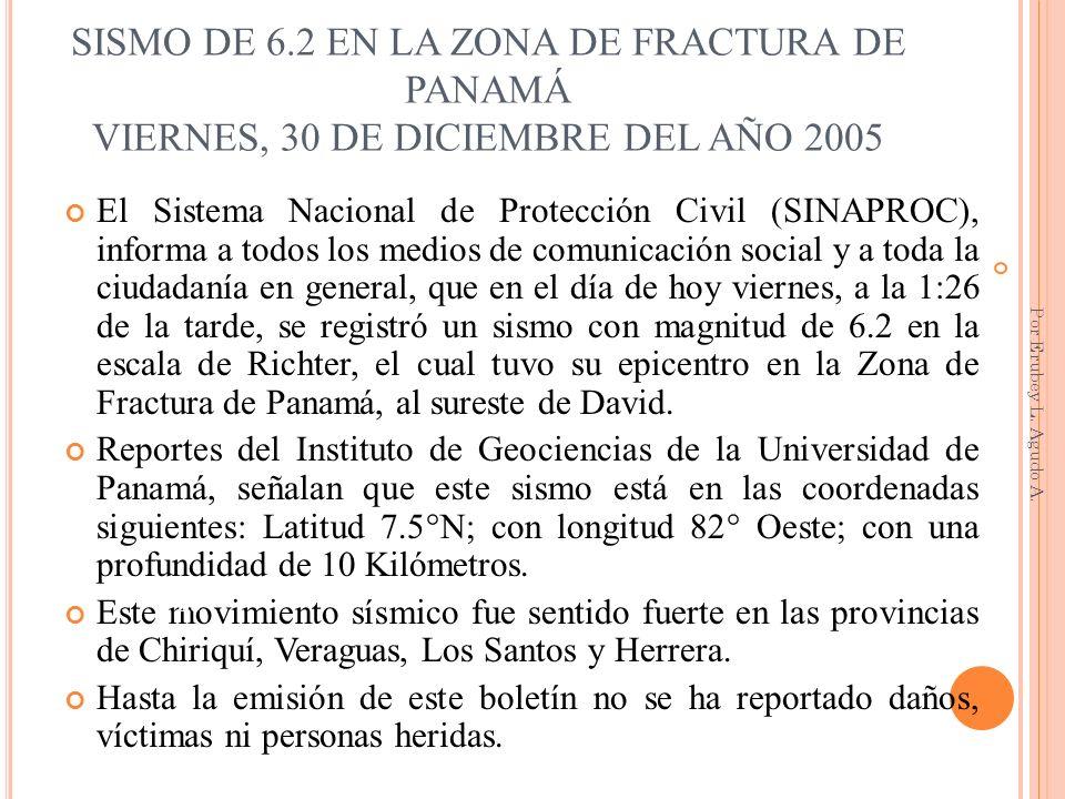 SISMO DE 6.2 EN LA ZONA DE FRACTURA DE PANAMÁ VIERNES, 30 DE DICIEMBRE DEL AÑO 2005 El Sistema Nacional de Protección Civil (SINAPROC), informa a todo