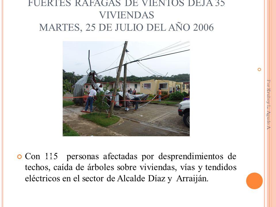 FUERTES RÁFAGAS DE VIENTOS DEJA 35 VIVIENDAS MARTES, 25 DE JULIO DEL AÑO 2006 Con 115 personas afectadas por desprendimientos de techos, caída de árbo