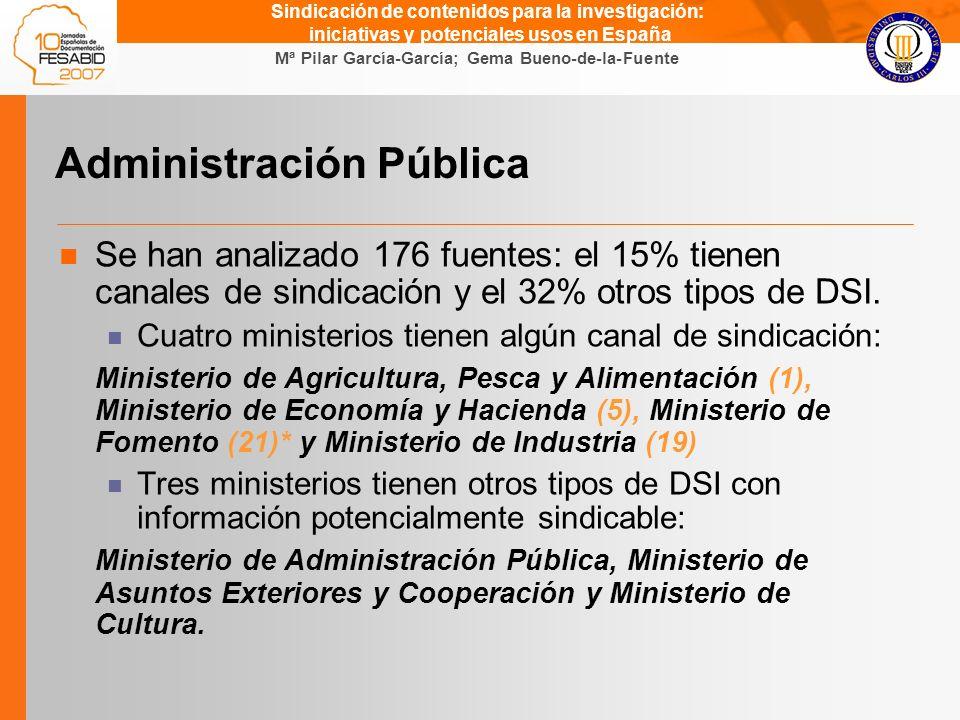 Gema Bueno de la Fuente Mª Pilar García-García; Gema Bueno-de-la-Fuente Sindicación de contenidos para la investigación: iniciativas y potenciales usos en España Administración Pública Se han analizado 176 fuentes: el 15% tienen canales de sindicación y el 32% otros tipos de DSI.