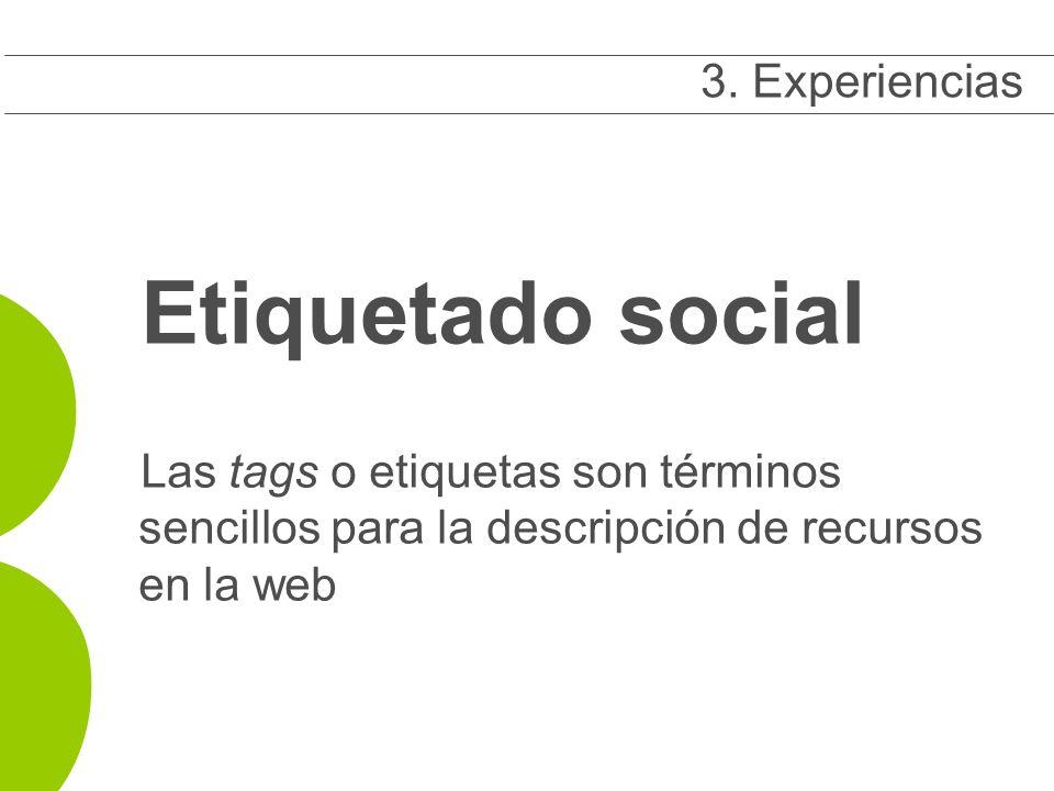 Etiquetado social Las tags o etiquetas son términos sencillos para la descripción de recursos en la web 3 3.