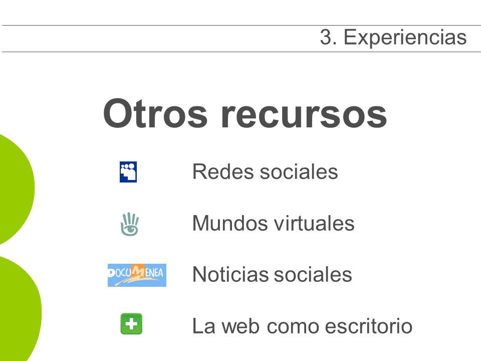 Otros recursos Redes sociales Mundos virtuales Noticias sociales La web como escritorio 3.
