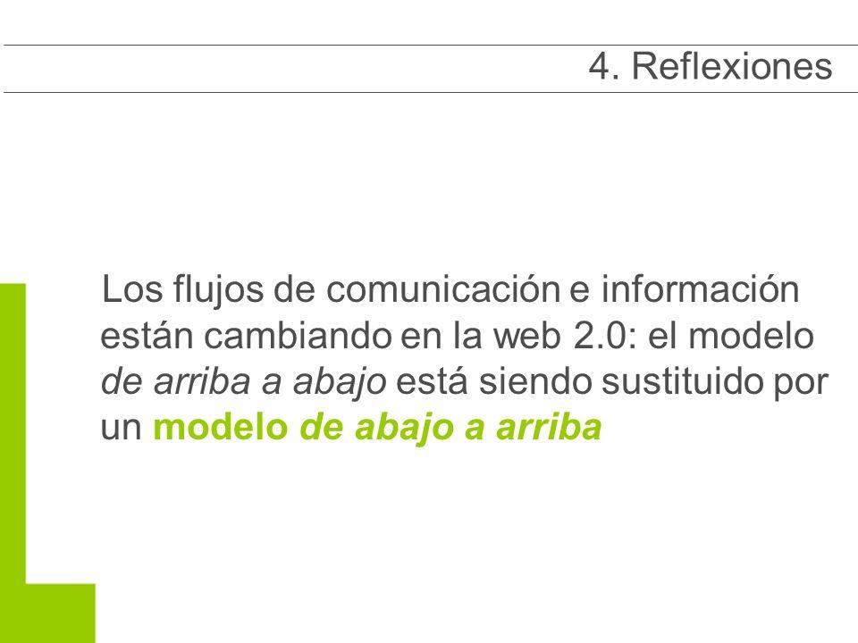 Los flujos de comunicación e información están cambiando en la web 2.0: el modelo de arriba a abajo está siendo sustituido por un modelo de abajo a arriba 4.