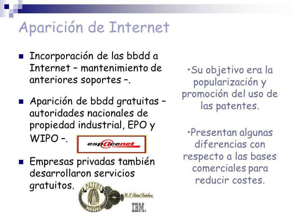 Aparición de Internet Incorporación de las bbdd a Internet – mantenimiento de anteriores soportes –. Aparición de bbdd gratuitas – autoridades naciona