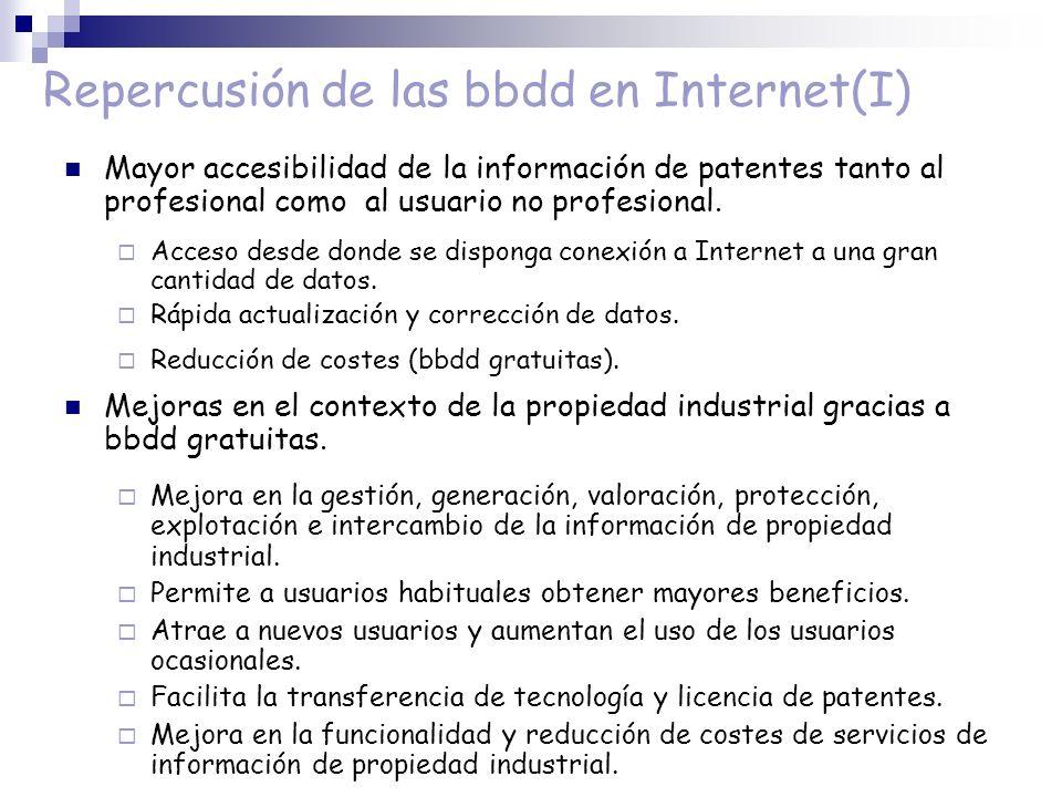 Repercusión de las bbdd en Internet(I) Mayor accesibilidad de la información de patentes tanto al profesional como al usuario no profesional. Acceso d