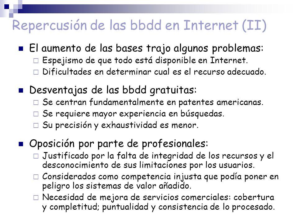 Repercusión de las bbdd en Internet (II) El aumento de las bases trajo algunos problemas: Espejismo de que todo está disponible en Internet. Dificulta