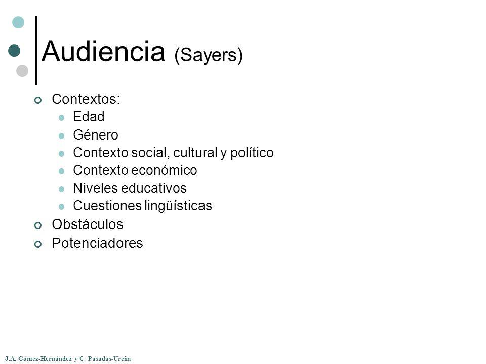 J.A. Gómez-Hernández y C. Pasadas-Ureña Audiencia (Sayers) Contextos: Edad Género Contexto social, cultural y político Contexto económico Niveles educ