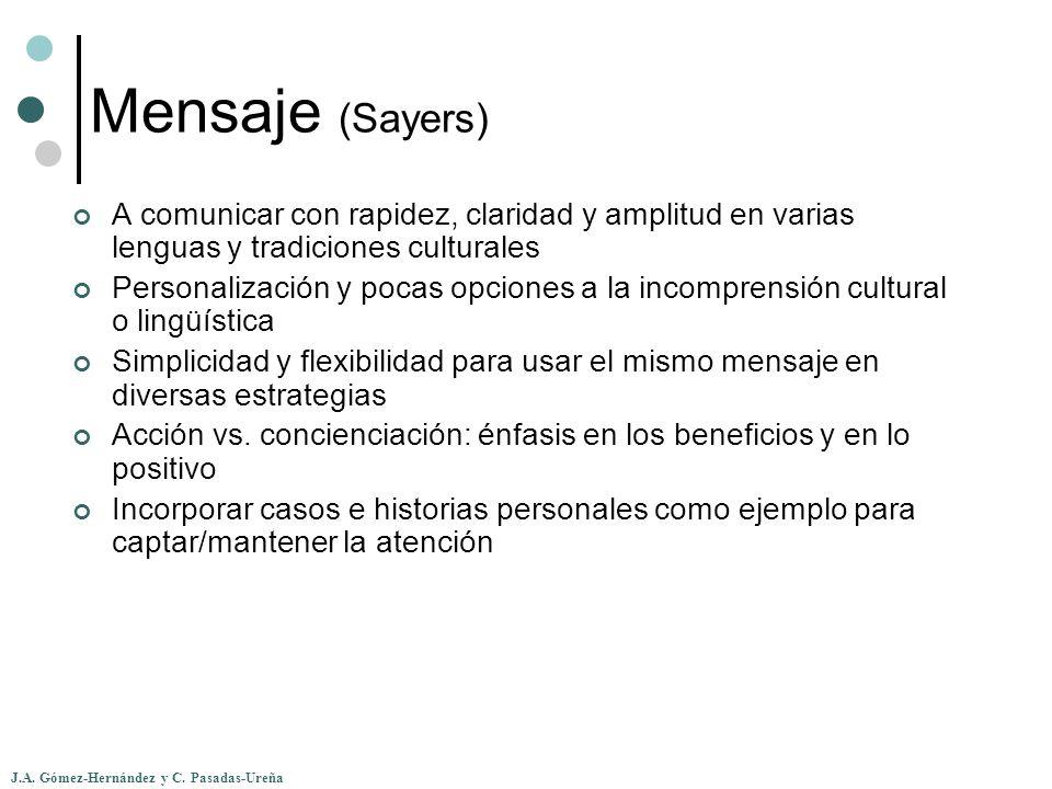 J.A. Gómez-Hernández y C. Pasadas-Ureña Mensaje (Sayers) A comunicar con rapidez, claridad y amplitud en varias lenguas y tradiciones culturales Perso