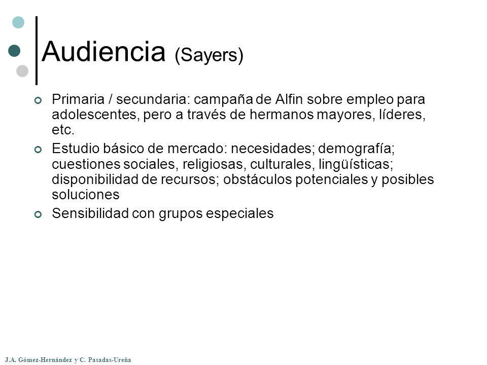 J.A. Gómez-Hernández y C. Pasadas-Ureña Audiencia (Sayers) Primaria / secundaria: campaña de Alfin sobre empleo para adolescentes, pero a través de he