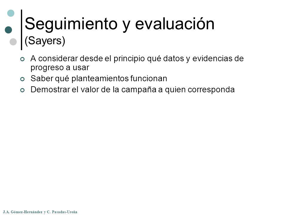 J.A. Gómez-Hernández y C. Pasadas-Ureña Seguimiento y evaluación (Sayers) A considerar desde el principio qué datos y evidencias de progreso a usar Sa