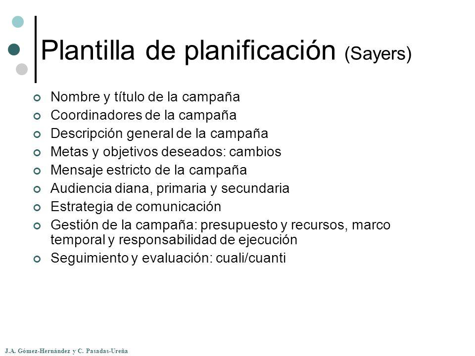 J.A. Gómez-Hernández y C. Pasadas-Ureña Plantilla de planificación (Sayers) Nombre y título de la campaña Coordinadores de la campaña Descripción gene