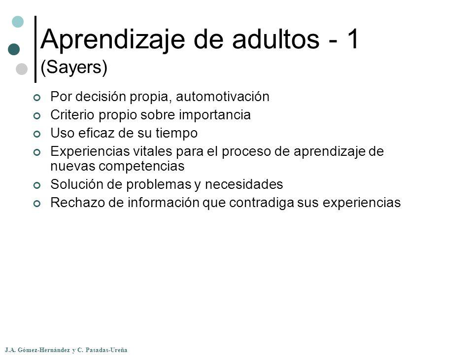 J.A. Gómez-Hernández y C. Pasadas-Ureña Aprendizaje de adultos - 1 (Sayers) Por decisión propia, automotivación Criterio propio sobre importancia Uso