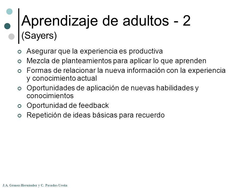 J.A. Gómez-Hernández y C. Pasadas-Ureña Aprendizaje de adultos - 2 (Sayers) Asegurar que la experiencia es productiva Mezcla de planteamientos para ap