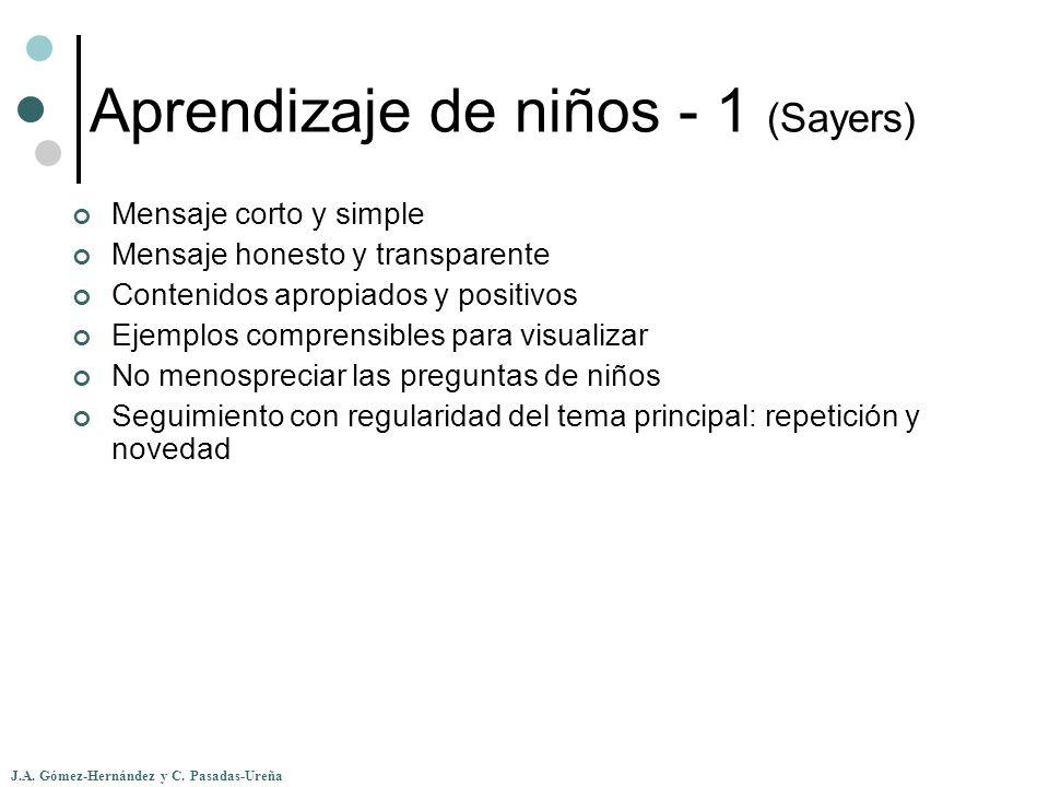 J.A. Gómez-Hernández y C. Pasadas-Ureña Aprendizaje de niños - 1 (Sayers) Mensaje corto y simple Mensaje honesto y transparente Contenidos apropiados