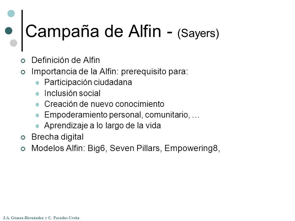 J.A. Gómez-Hernández y C. Pasadas-Ureña Campaña de Alfin - (Sayers) Definición de Alfin Importancia de la Alfin: prerequisito para: Participación ciud