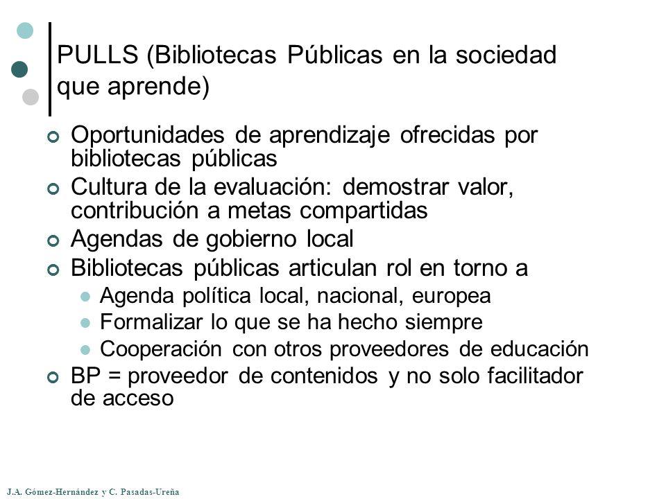 J.A. Gómez-Hernández y C. Pasadas-Ureña PULLS (Bibliotecas Públicas en la sociedad que aprende) Oportunidades de aprendizaje ofrecidas por bibliotecas
