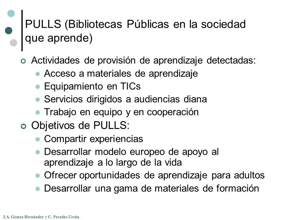 J.A. Gómez-Hernández y C. Pasadas-Ureña PULLS (Bibliotecas Públicas en la sociedad que aprende) Actividades de provisión de aprendizaje detectadas: Ac