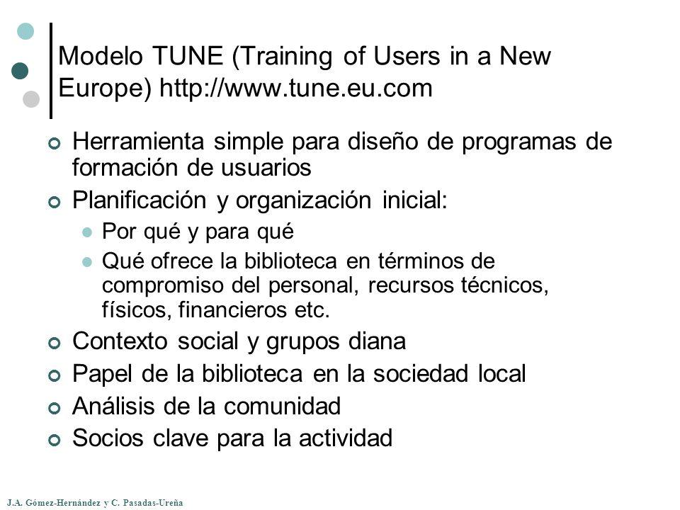 J.A. Gómez-Hernández y C. Pasadas-Ureña Modelo TUNE (Training of Users in a New Europe) http://www.tune.eu.com Herramienta simple para diseño de progr