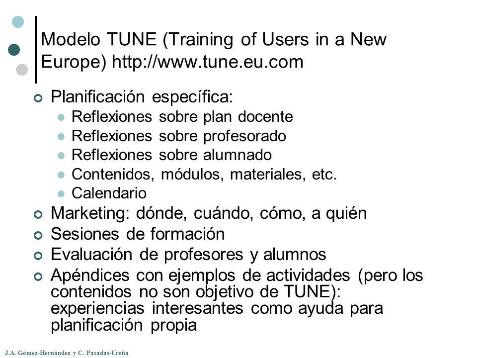 J.A. Gómez-Hernández y C. Pasadas-Ureña Modelo TUNE (Training of Users in a New Europe) http://www.tune.eu.com Planificación específica: Reflexiones s