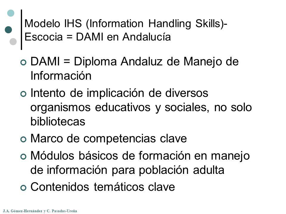 J.A. Gómez-Hernández y C. Pasadas-Ureña Modelo IHS (Information Handling Skills)- Escocia = DAMI en Andalucía DAMI = Diploma Andaluz de Manejo de Info