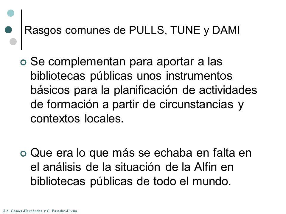J.A. Gómez-Hernández y C. Pasadas-Ureña Rasgos comunes de PULLS, TUNE y DAMI Se complementan para aportar a las bibliotecas públicas unos instrumentos