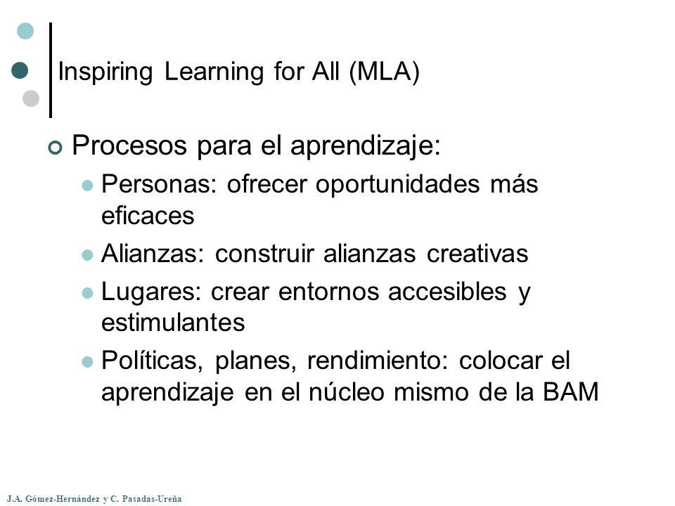 J.A. Gómez-Hernández y C. Pasadas-Ureña Inspiring Learning for All (MLA) Procesos para el aprendizaje: Personas: ofrecer oportunidades más eficaces Al