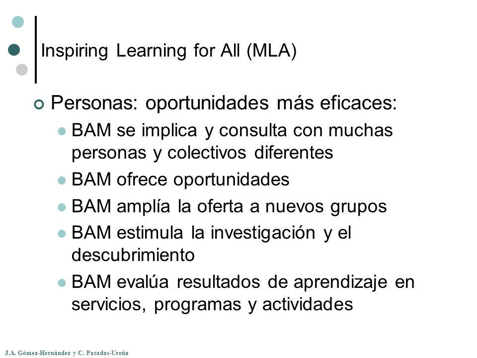 J.A. Gómez-Hernández y C. Pasadas-Ureña Inspiring Learning for All (MLA) Personas: oportunidades más eficaces: BAM se implica y consulta con muchas pe