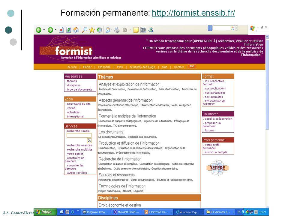 Formaci ó n permanente: http://formist.enssib.fr/http://formist.enssib.fr/