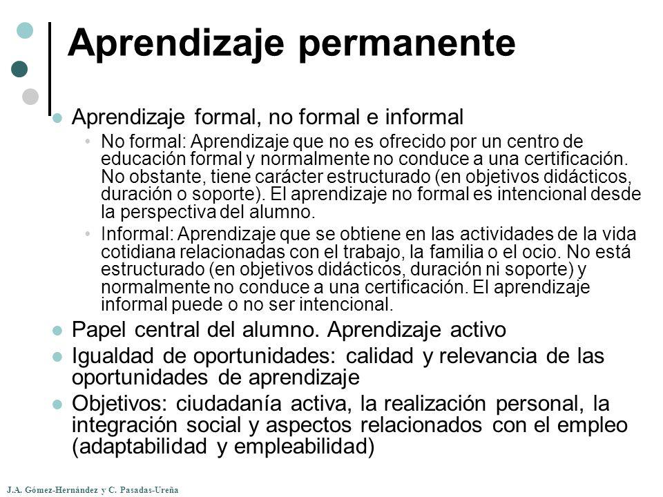 J.A. Gómez-Hernández y C. Pasadas-Ureña Aprendizaje permanente Aprendizaje formal, no formal e informal No formal: Aprendizaje que no es ofrecido por