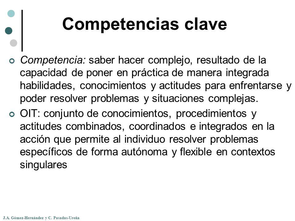 J.A. Gómez-Hernández y C. Pasadas-Ureña Competencias clave Competencia: saber hacer complejo, resultado de la capacidad de poner en práctica de manera