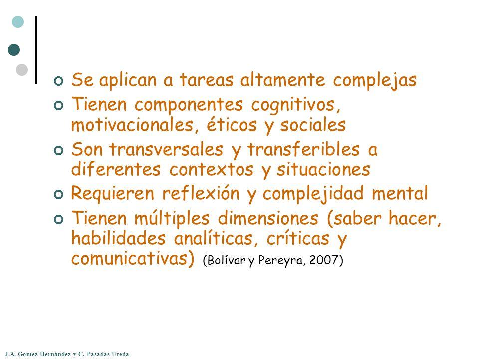 J.A. Gómez-Hernández y C. Pasadas-Ureña Se aplican a tareas altamente complejas Tienen componentes cognitivos, motivacionales, éticos y sociales Son t